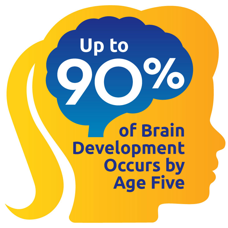 Up to 90% of a child's brain development is completed by age five.
